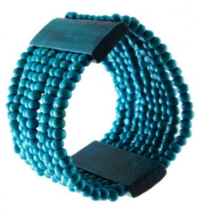 Blue Wood Beaded Bracelet