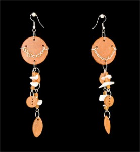 Orange Wood Earrings