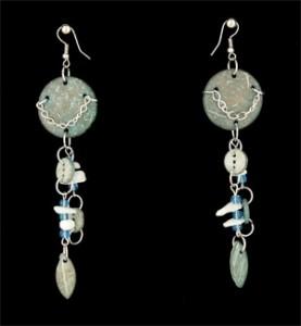 Turquoise Wood Earrings