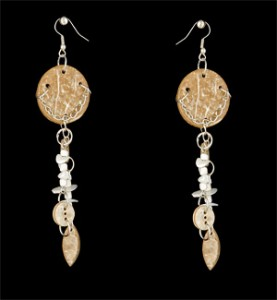 Tan Wood Earrings