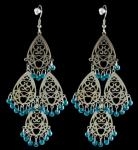 Silver Chandelier Earrings w/ Blue Beads