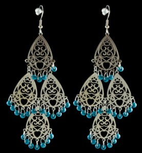 Silver Chandelier Earrings w/ Blue Beads