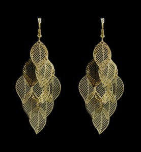 Small Gold Leaf Cascading Earrings