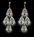 Silver Chandelier w/ Black Beads