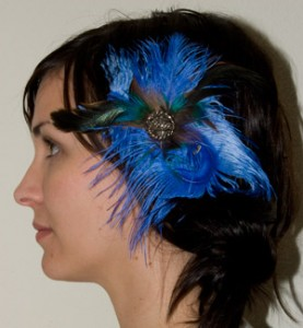 Blue Ostrich Feather Clip