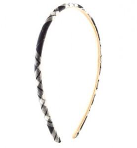 Thin Black Plaid Headband