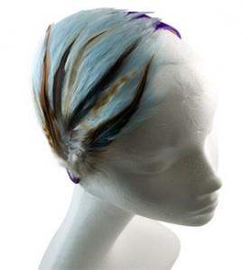 Purple Headband w/ Blue Feathers