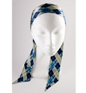 Blue Plaid Scarf Headband
