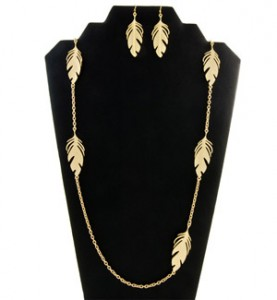Gold Feather Jewelry Set
